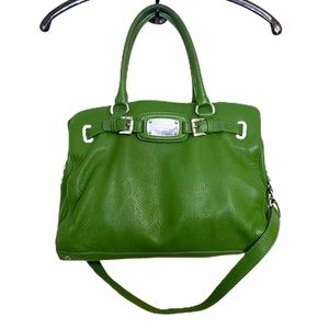 MK Michael Kors Large Leather Green Tote Chain
